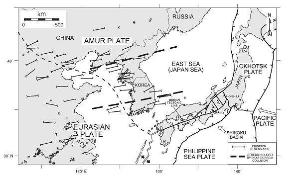 Present-day stress field in East Asia, based on the focal mechanism solution of recent earthquakes, showing a strong eastward component