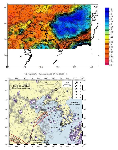 (Upper) Distribution of s-wave velocity (Vs) at 30 km depth computed from ambient noise tomography (after Kim et a., 2014). The scale bar denotes Vs in km/s. (Lower) Fault plane solutions in and around the Yellow Sea (Hong and Choi, 2012).