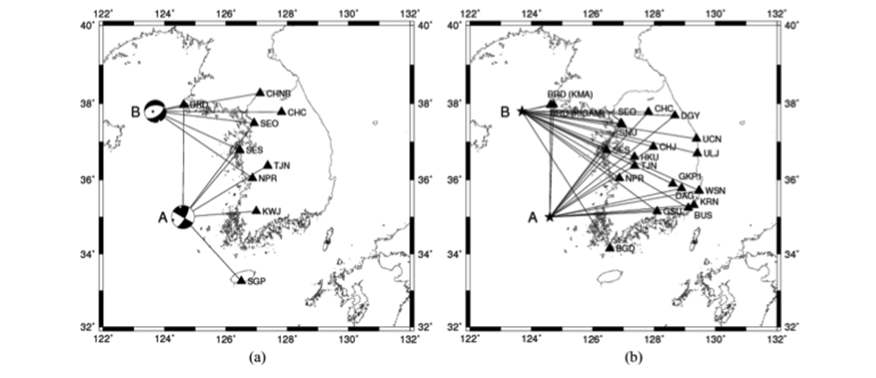 (a) The distribution of broadband seismic stations for waveform inversion analysis. (b) The distribution of broadband seismic stations for spectral analysis.