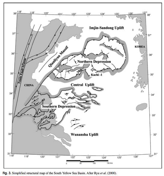 Simplified structural map of the South Yellow Sea Basin.