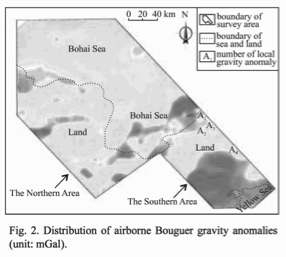 Distribution of airborne Bouguer gravity anomalies