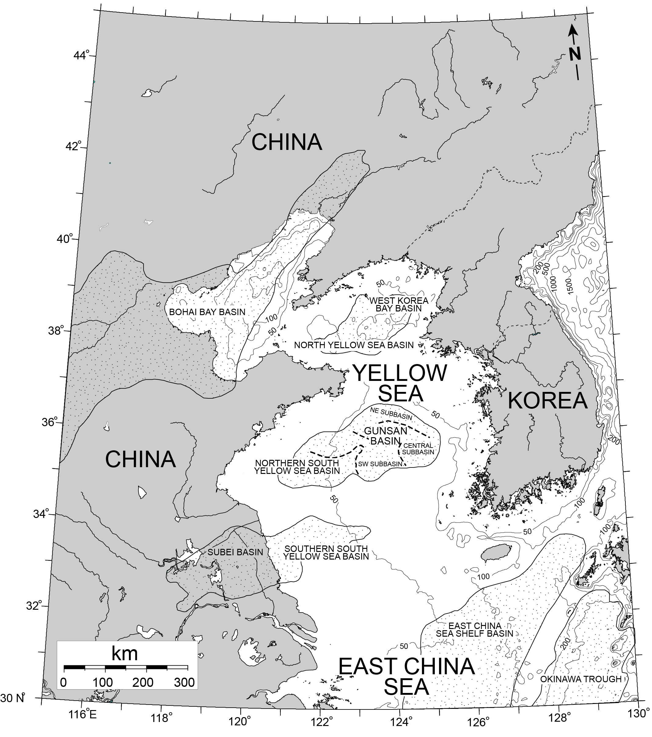 Major sedimentary basins in the Yellow Sea.