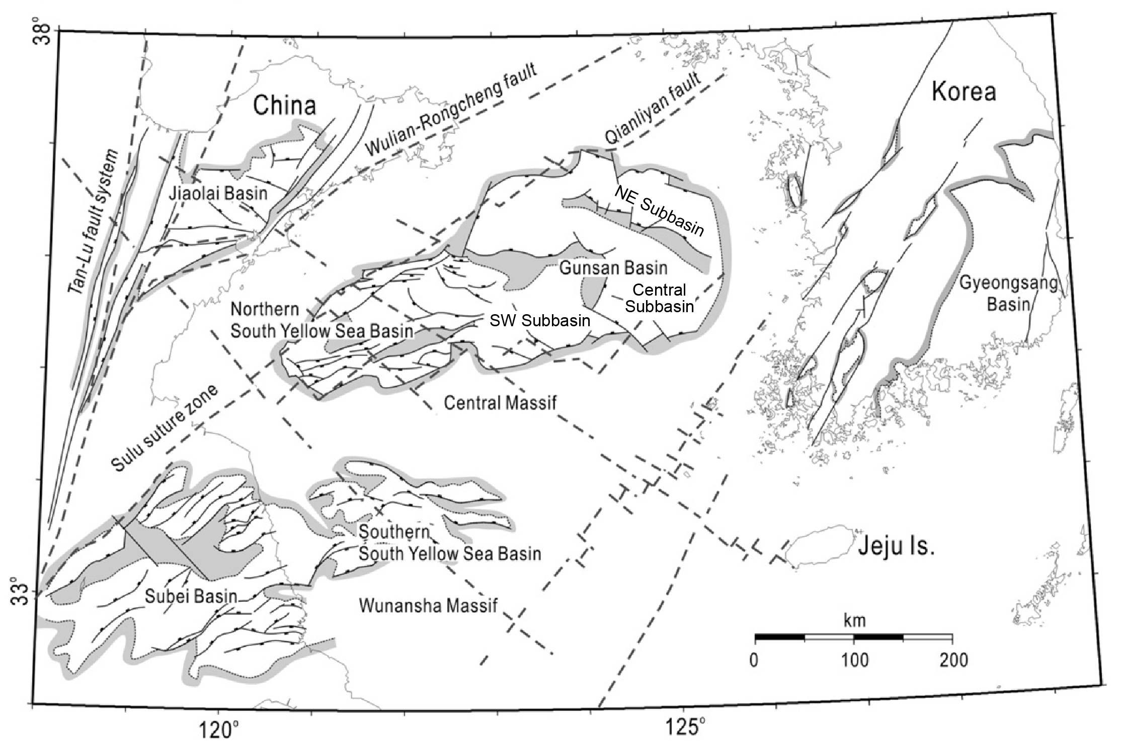 Structural map of continental sedimentary basins between the Tan-Lu fault and strike-slip faults on the Korean Peninsula