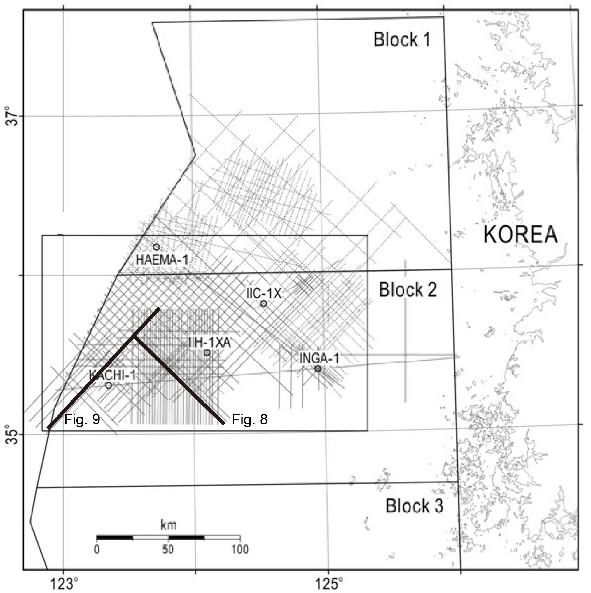 Locations of multi-channel seismic profiles and exploratory wells in the Gunsan Basin
