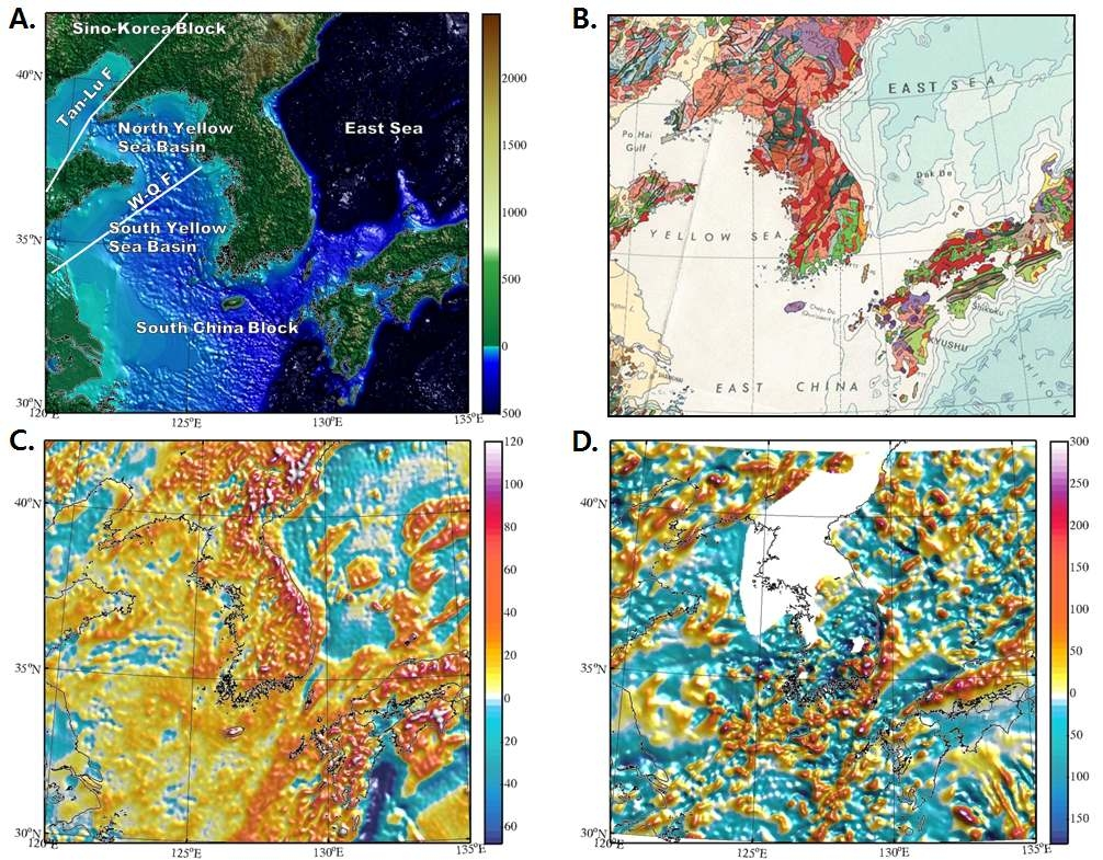 (a) Topography and bathymetry of Yellow Sea and its neighboring areas from ETOPO1. Unit is meters. (b) Geologic map of Southeast Asia from Geological Atlas of the World (1984) by UNESCO/CGMW. (c) Free-air gravity at the surface from the spherical harmonics up to 2190 for degree and 2159 for order (2.5 arc-minute interval) to represent the Earth's gravitational model. Unit is mGal. (d) Total magnetic intensities at 4 km from EMAG2 compilations by NOAA. Unit is nT.