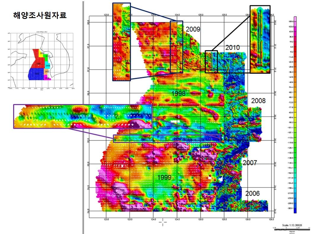 Magnetic anomaly map from the Korean Hydrogrpahic and Oceanographic Administration. Note discrepancies in the boundries of annual survey areas (강은영, 2012).