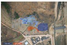 그림 9. 회청색 뻘층과 회청색자갈층(적색) 범위