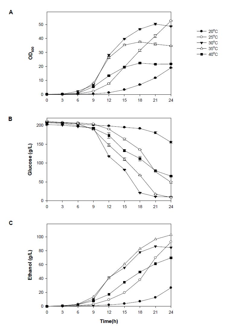 발효온도에 따른 NK28의 생장(A), 포도당 사용량(B), 에탄올 생성량(C).