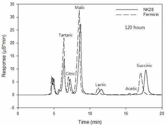 Fermivin 혹은 NK28로 발효된 포도주의 유기산 HPAEC 분석