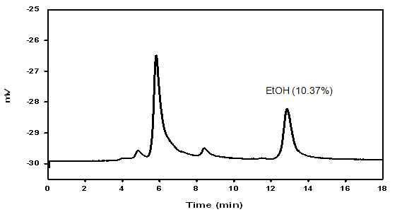 화선찰를 사용하여 일단 발효 후 HPLC분석(에탄올 정량)