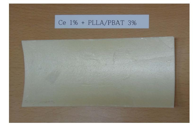 PS + Ce 1 wt% + PLLA/PBAT 3 wt% UV 조사 시험 후 (14일)