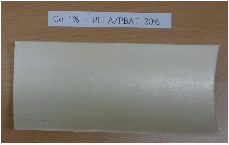 PS + Ce 1 wt% + PLLA/PBAT 20 wt% UV 조사 시험 후 (14일)