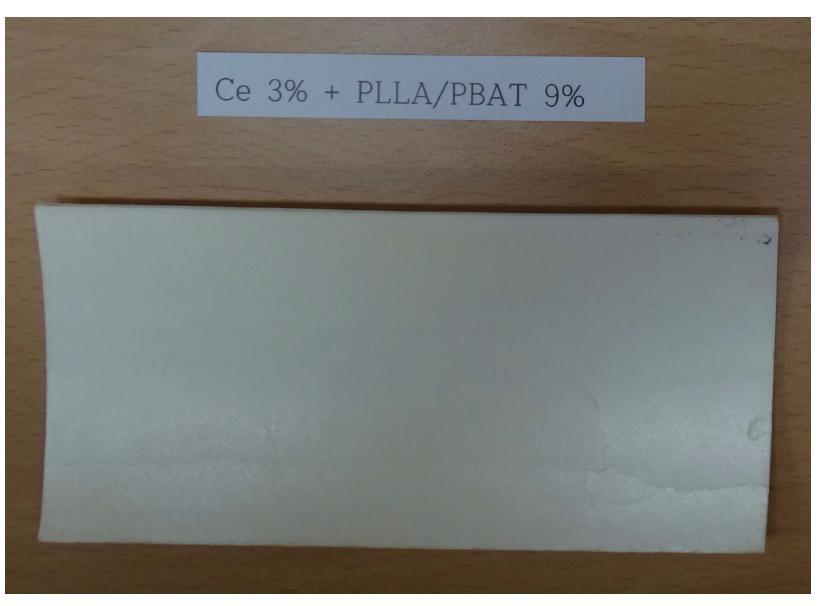 PS + Ce 3 wt% + PLLA/PBAT 9 wt% UV 조사 시험 후 (14일)