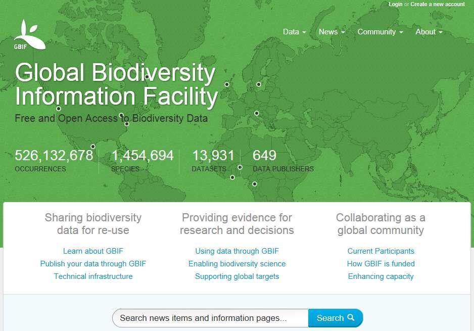 GBIF(Global Biodiversity Information Facility) Data Portal Global Data Service