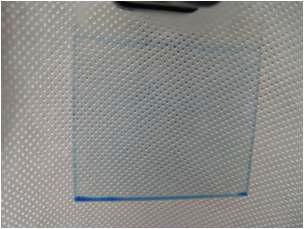 Filtering을 10회 실시하여 제조된 청색 oil의 코팅 현상