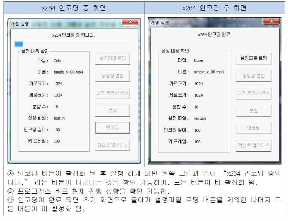 x264 인코딩 화면 설명