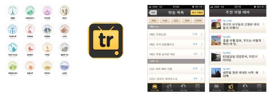 트래블로의 이용자 보상제도 '스탬프'(좌)와 트래블로의 앱 '떠나요 TV 속 여행'(우)