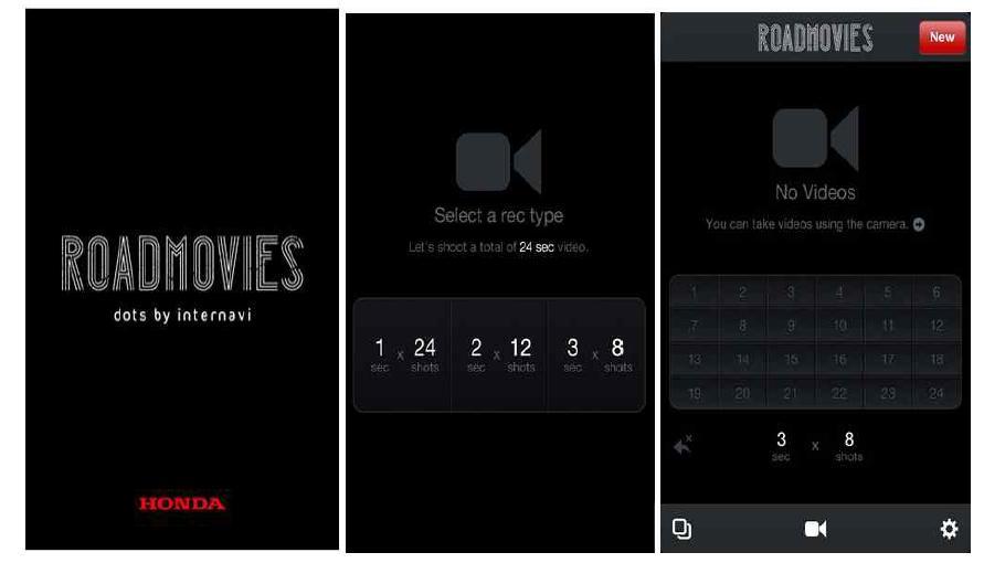 로드무비 앱의 인트로페이지(좌), 동영상 구성 선택페이지(중), 동영상 촬영 페이지(우)