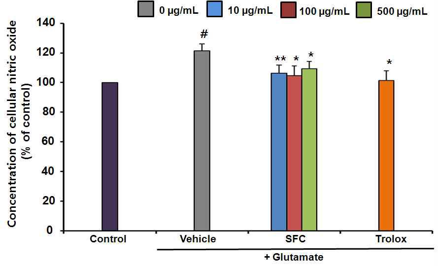 The effect of SFC on glutamate-induced NO production. Results are expressed as a percentage of values obtained for control cells