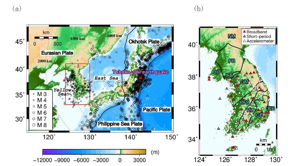 (a) 한반도, 서중국, 일본열대의 고도, 1978/01/01-2014/06/30 사이에 발생한 지진들의 위치 (검 정색 원), 판의 경계(두꺼운 회색 선; Bird, 2003), 판의 이름(흰바탕의 검정색 글씨), 바다의 이름(흰바탕에 기 울임 글씨). 동일본대지진의 진앙(붉은색 별)을 도시한 그림. 동일본 대지진의 진앙으로부터 떨어진 거리가 연 한회색의 점선으로 도시되어 있다. 한반도의 지진위치와 규모는 기상청으로부터, 다른 지역의 지진은 International Seismological Centre(ISC)로부터 수집하였다. 기상청데이터는 규모 3.0 이상, ISC데이터는 규 모 5.5이상만 도시되어있다. (b) 지진관측소 (삼각형), 주요 지질구조(두꺼운 검정색 선)이 도시된 한반도의 확 대지도. 붉은색 삼각형은 브로드밴드 지진관측소, 회색 삼각형은 단주기 속도관측소, 흰색은 가속도계 지진관 측소이다. NM은 낭림육괴, PB는 평남분지, OB는 옹진분지, IFB는 임진강습곡대, GM은 경기육괴, OFB는 옥 천습곡대, YM은 영남육괴, GB는 경상분지, IYB는 연일분지 이다.