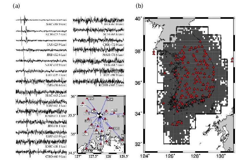 (a) 61개의 감지된 지진에 대한 규모-빈도 그래프의 관측데이터와 이론적인 데이터사이의 잔차 (원), 그리고 최소규모에 따른 ?값의 변화(검정색 네모). ? ?가 0.9일 때 잔차가 가장 작은 값을 나타낸다. ? 값은 규모 0.9, 1.0, 1.1에서 안정적으로 계산된다. (b) 61개 감지된 지진에 대한 Gutenberg-Richter 관계그 래프. ? ? =0.9일 때 ?값과 ?값은 각각 5.12와 0.86으로 나타난다. (c) (a)와 같고, 17개의 한반도 북서부 clustered 지진을 제외하여 계산한 그림. (d) (b)와 같고, 17개의 한반도 북서부 clustered 지진을 제외하여 계산한 그림. GR ?와 ?값은 각각 5.01, 0.84로 계산된다.