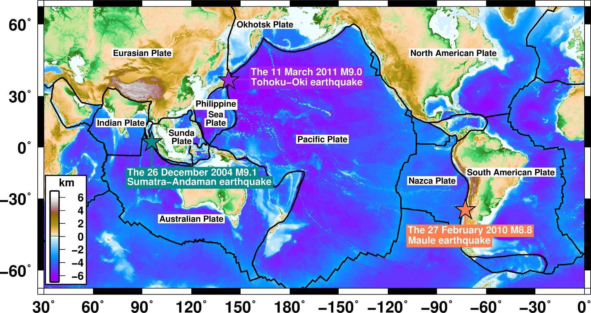 2000년 이후 발생한 규모 8 이상의 세 초대형 지진을 도시한 지도. 세 초대형 지진은 2004년 12월 26일에 발생한 규모 9.1의 수마트라 대지진, 2010년 2월 27일에 발생한 규모 8.8의 마울레 대지진, 그리고 2011년 3월 11일에 발생한 규모 9.0의 동일본 대지진이다.