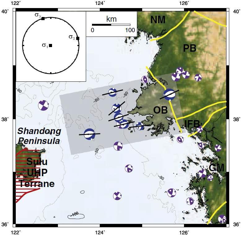황해 지역에서 발생한 지진들의 단층면해. 그늘진 영역 (그림 3-4의 A 지역)은 정단층 지진이 발생하는 지역을 나타낸다. 정단층 지진들은 산둥 반도와 옹진 분지 (Ongjin basin, OB) 사이의 좁은 영역에 분포한다. 이 지역의 대표 응 력장 ( ??? ??? ?? )은 그림의 좌측 상단에 표현된 것과 같다. 압축력의 방향은 지 표에 수직하며, 장력은 북북서-남남동의 방향을 하고 있다. 이 지역 내의 단층의 주향들이 실선으로 나타나 있다. 단층들은 동-서 혹은 동북동-서남서 방향으로 서로간의 유사성을 보인다. 지진들의 분포는 단층의 주향 방향에 평행하게 보여 진다.