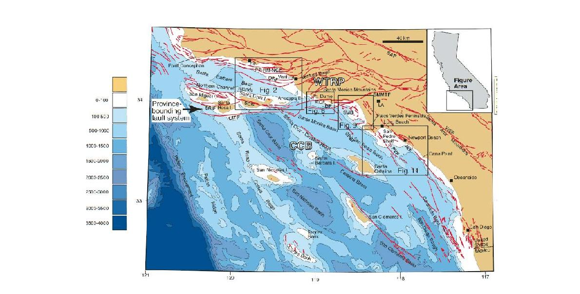 Fig. 2-3. Active faults offshore California (from Fisher et al., 2009).