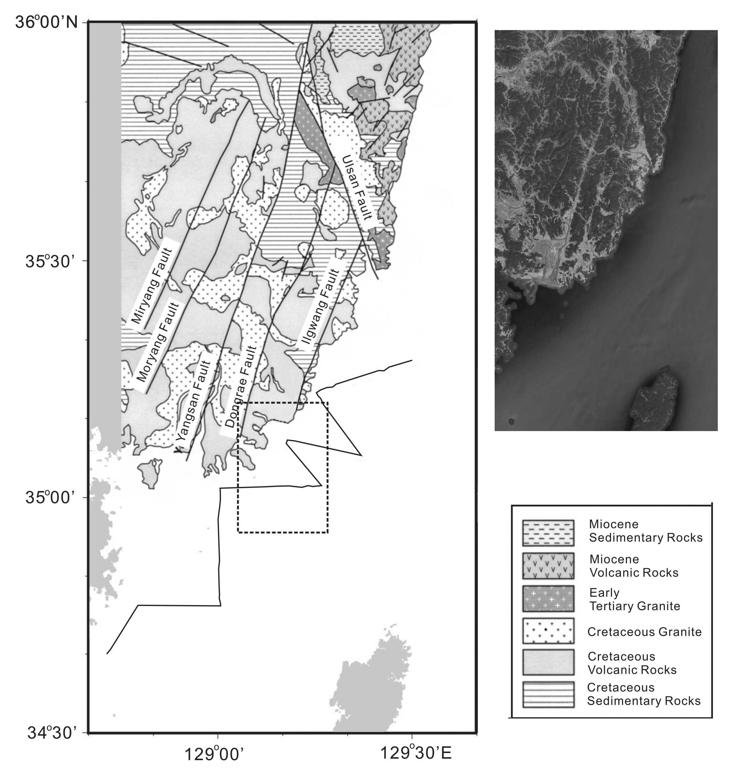 Fig. 3-2. Geologic map of the southeastern Korean Peninsula (modified from Ree et al., 2006).