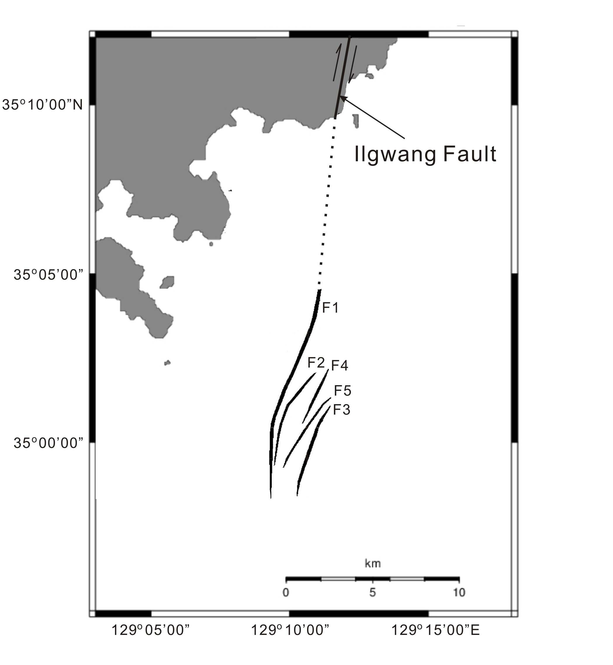 Fig. 3-9. Locations of Quaternary faults offshore the southeastern Korean Peninsula.