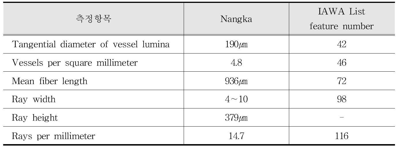 IAWA 기준에 따른 Nangka 수종의 해부학적 특성