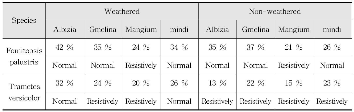 공시수종 중량감소율의 ASTM D-2017에 따른 분류