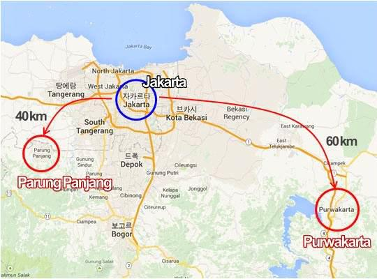 산림조합중앙회 인도네시아 현지법인과 인도네시아 영림공사 합작조림지 위치.