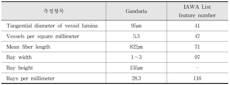 IAWA 기준에 따른 Gandaria 수종의 해부학적 특성