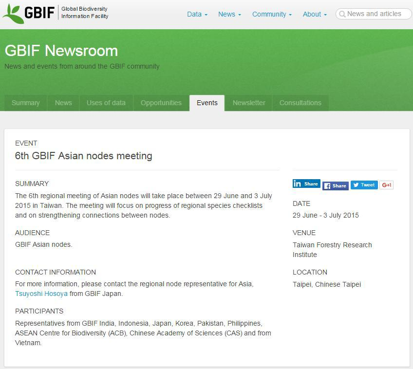 GBIF 6th Asia Regional Node Committee and Workshop on integrated Red List /Invasive Species List /Check List in East Asia