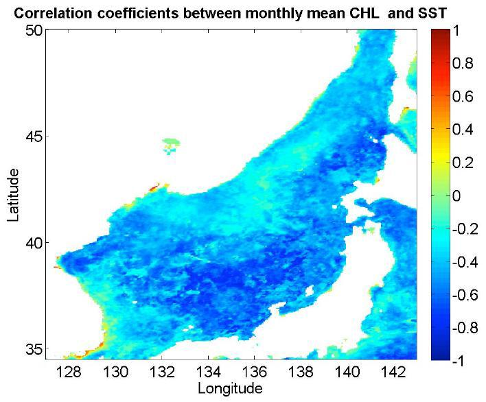 Correlation between Monthly Chlorophyll-a density and Sea Temperature