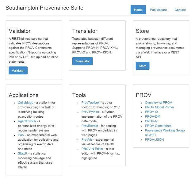 Provenance suite developed by Southampton University