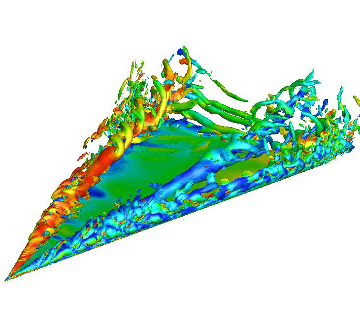 Iso-surface of the Q-criterion colored by vorticity(DDES-SA)