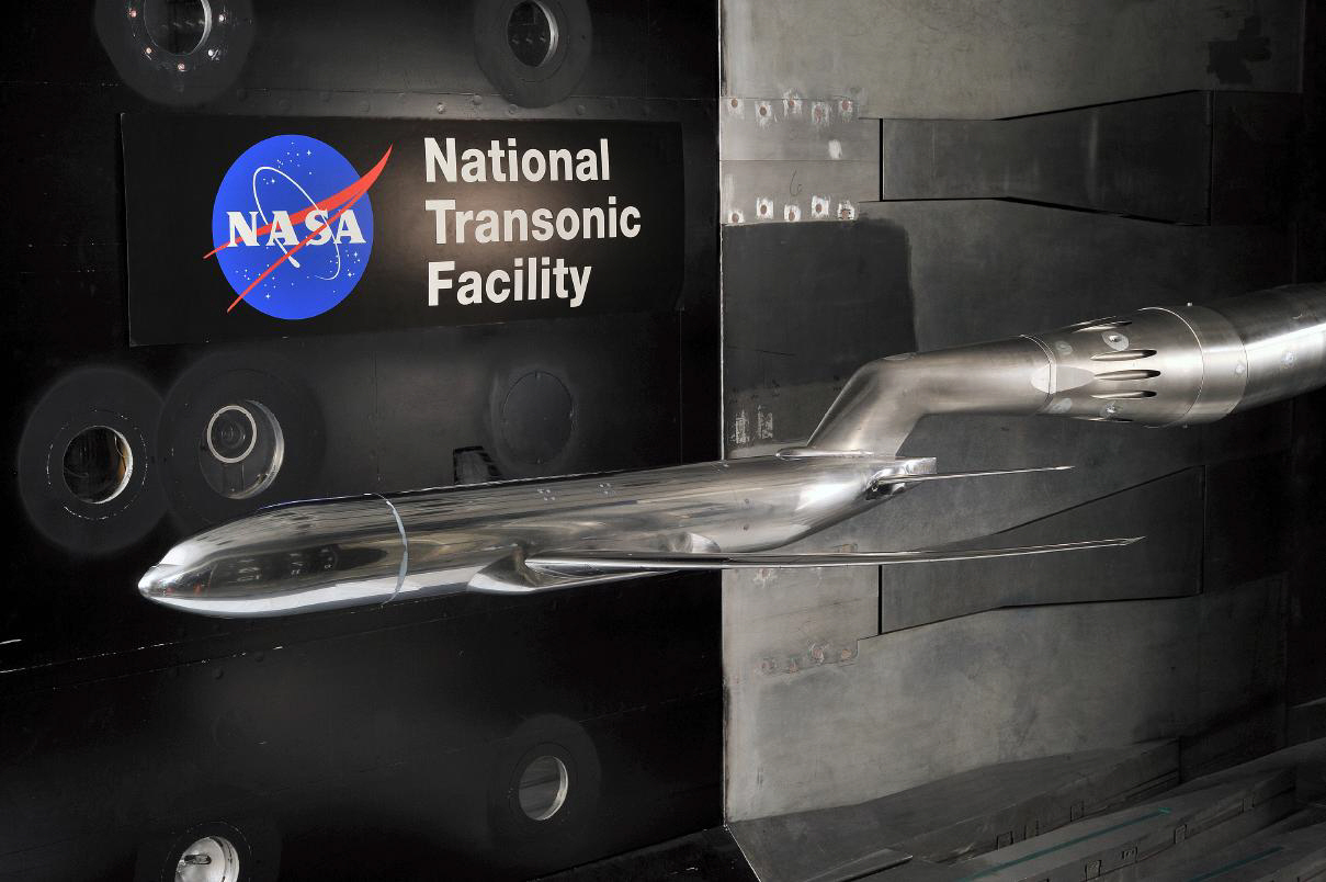 Photo of the Common Research Model in the National Transonic Facility