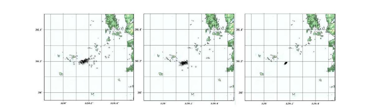 보령해역지진의 기상청 지진발생위치 발표 현황(좌), 본 연구에서 결정한 초기 지진발생위치(중) 및 hypoDD를 방법을 사용한 결과(우).