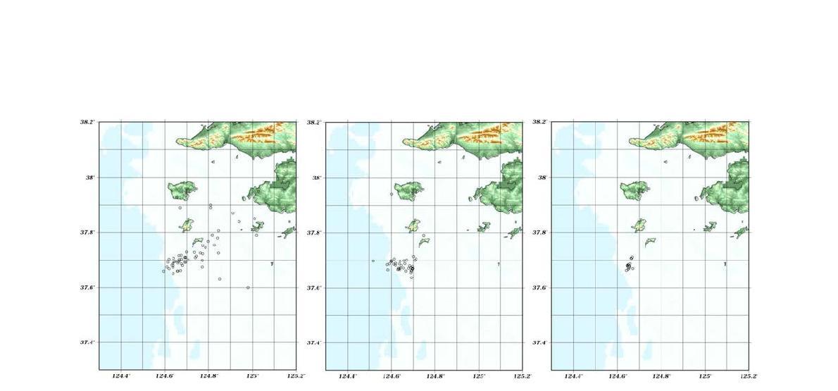 백령도 해역지진의 기상청 지진발생위치 발표 현황(좌), 본 연구에서 결정한 초기 지진발생위치(중) 및 hypoDD를 방법을 사용한 결과(우).
