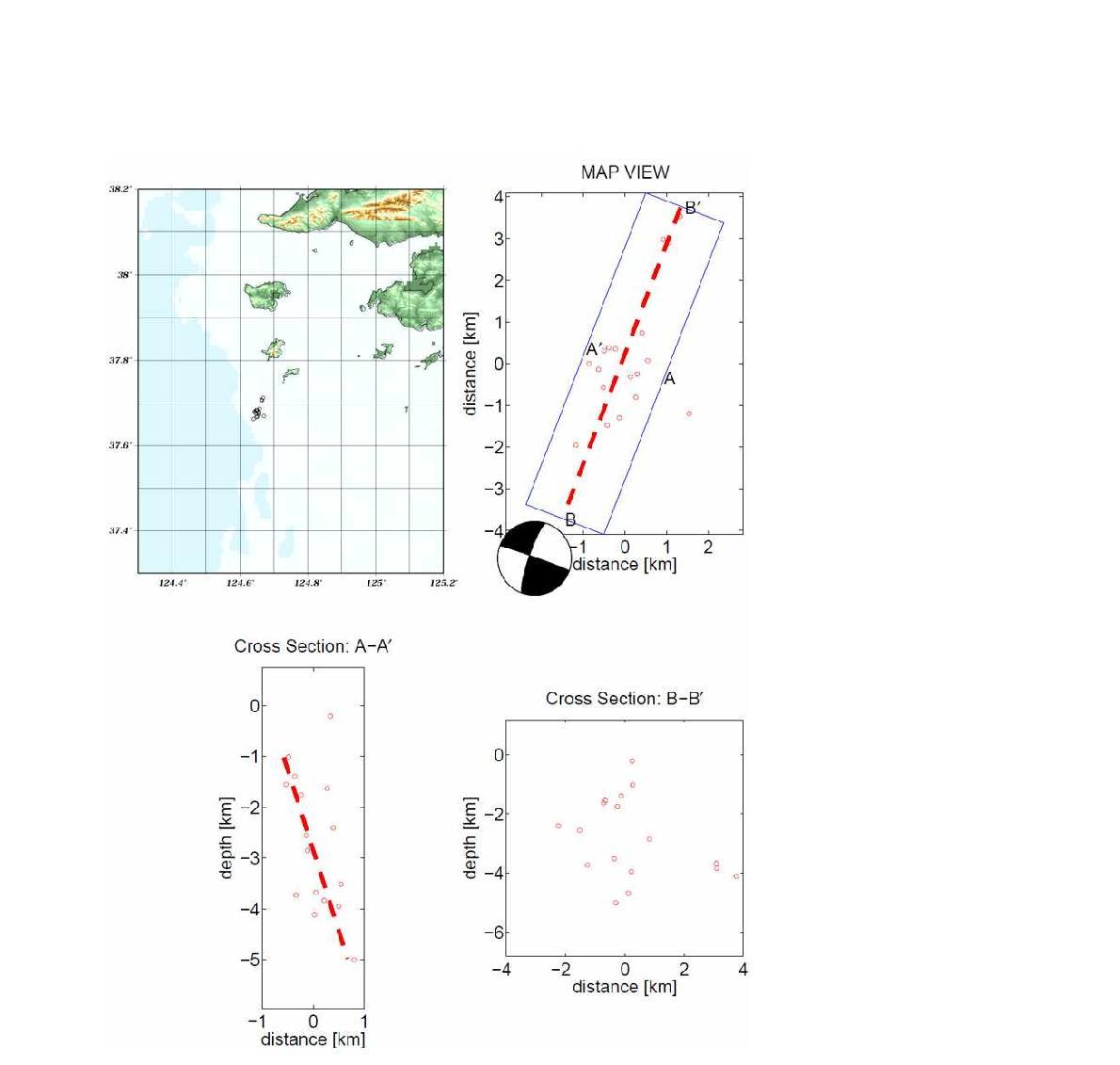 백령도 해역지진과 단층면해 비교