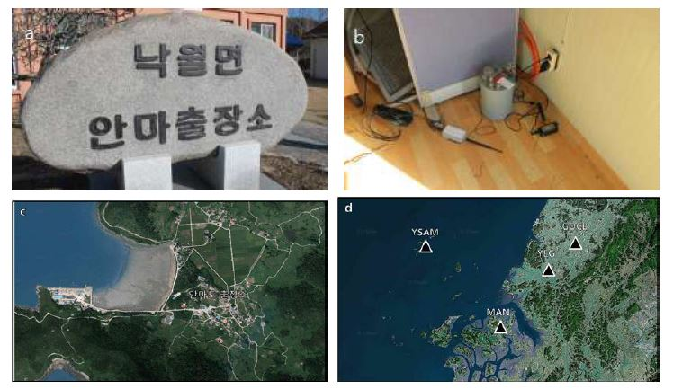(a) Anmado local office, (b) Installed seismometer at non-use room behind local office, (c) satellite image of the Anmado local office and (d) KMA seismic stations adjacent to Anmado local office