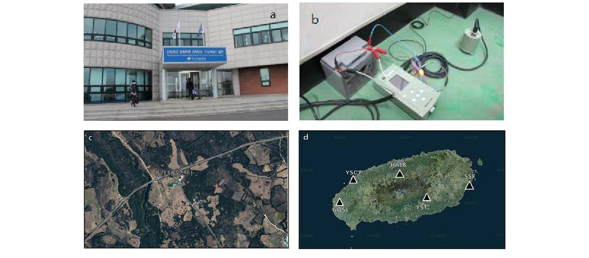 (a) Jeju National Typhoon Center, (b) Installed at Typhoon Center first basement level generator room, (c) satellite image of the Jeju National Typhoon Center and (d) KMA seismic stations adjacent to Jeju National Typhoon Center