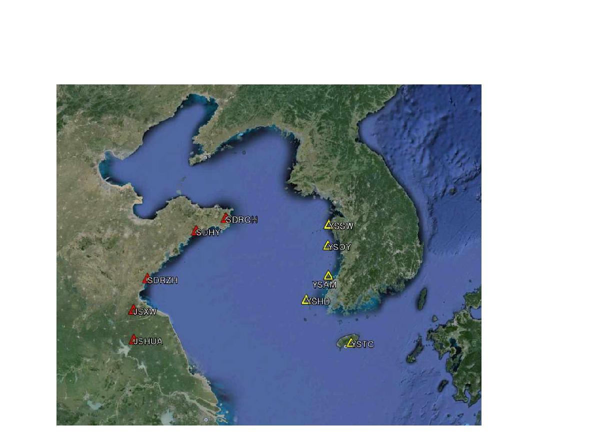 서해 주변 한국과 중국에 설치된 10개 임시지진관측소