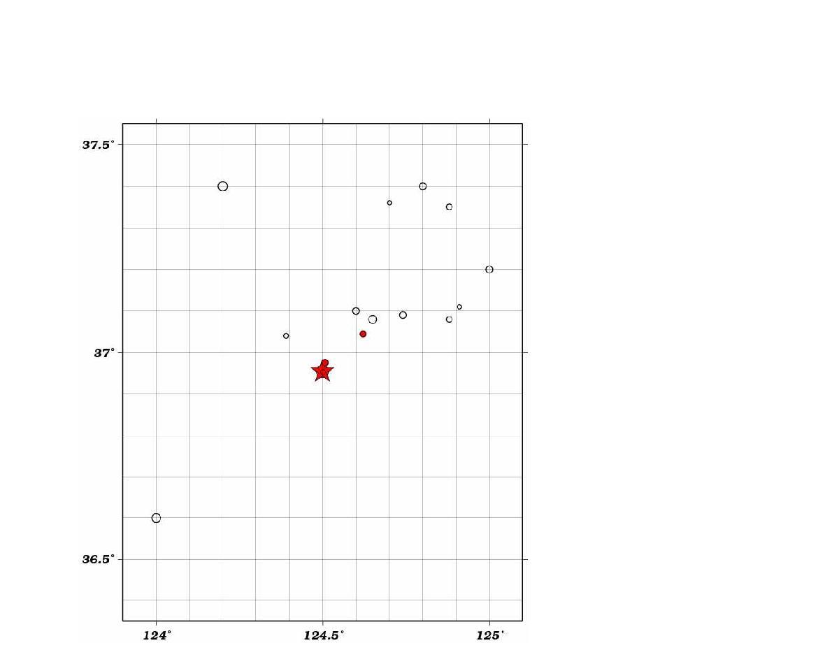 2014년 4월 1일 서격렬비도 해역 지진 발생위치 (붉은색 별) 및 기상청 지진목록에 수록된 지진발생 위치 (원). 2014년 4월 1일의 여진 발생 위치는 붉은색 원으로 표시.