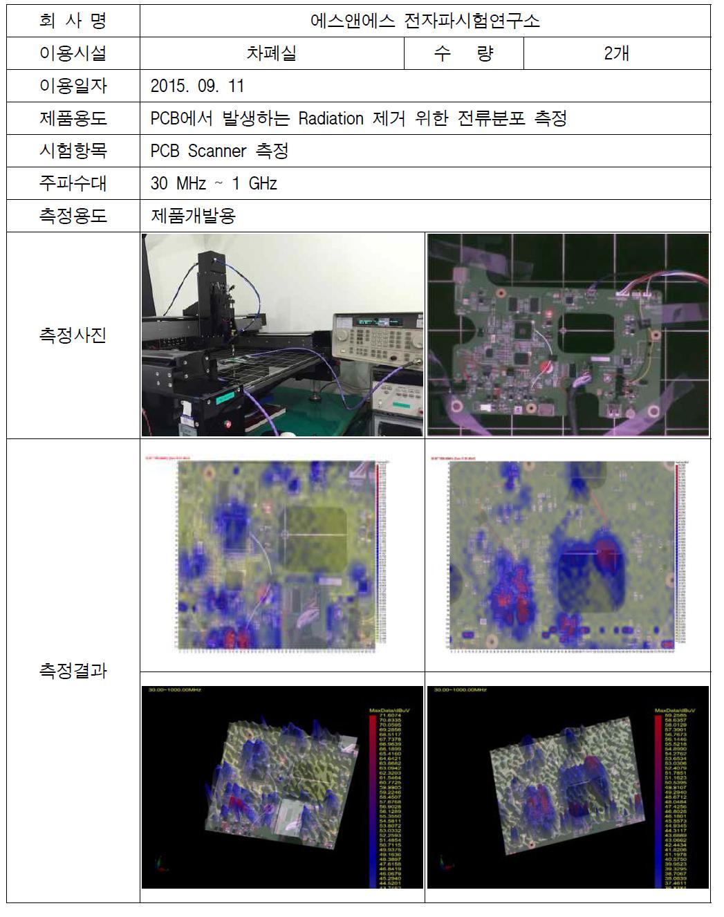 전자확대기 PCB Scanner 측정 결과