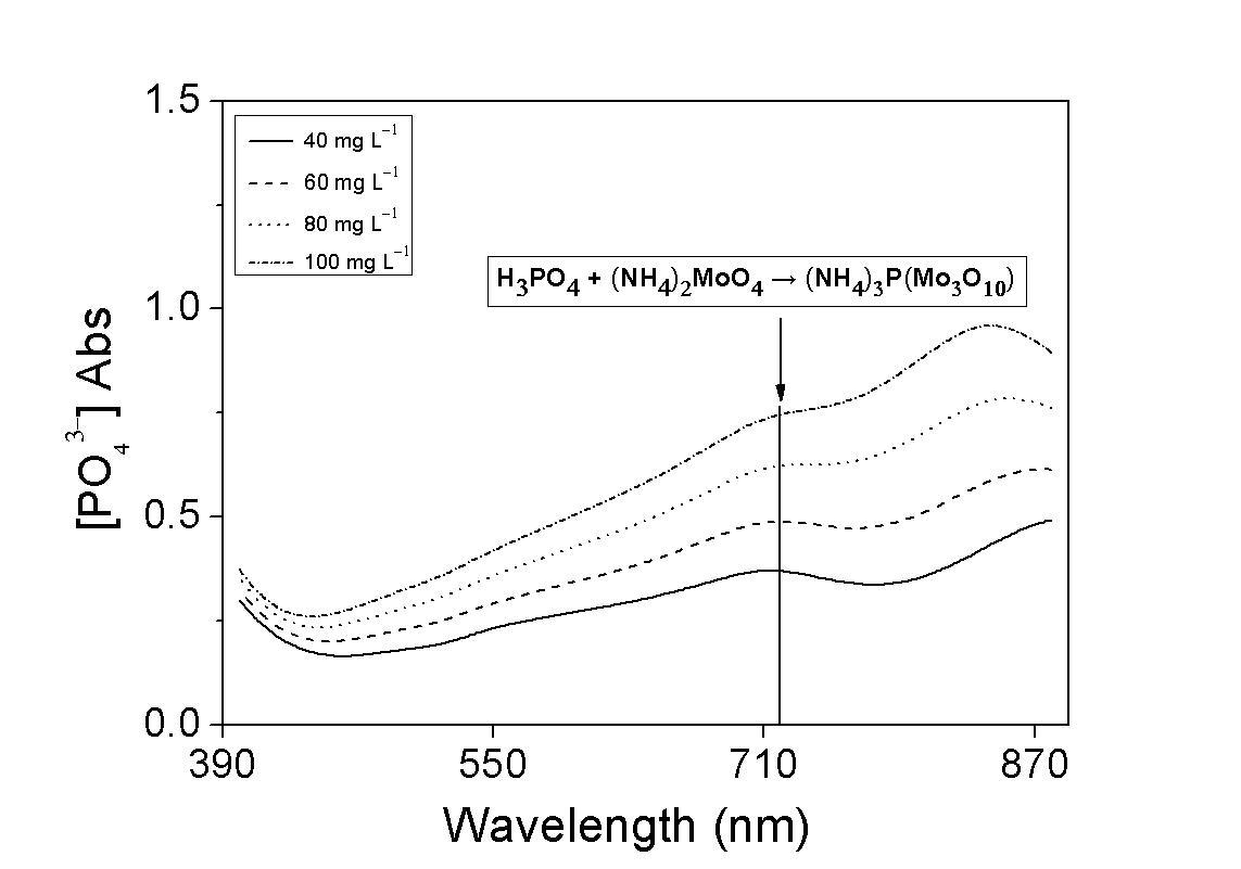 표준용액 농도별 인산이온 분석키트의 흡수 스펙트럼