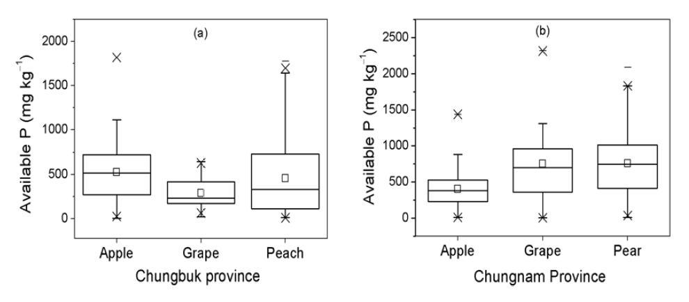 충청지역 주 과수 재배지의 유효인 함량 분포