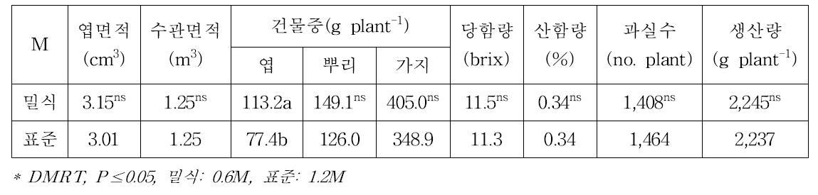 남부형 하이부쉬 블루베리 '오닐'의 재식밀도에 따른 수체 및 과실특성